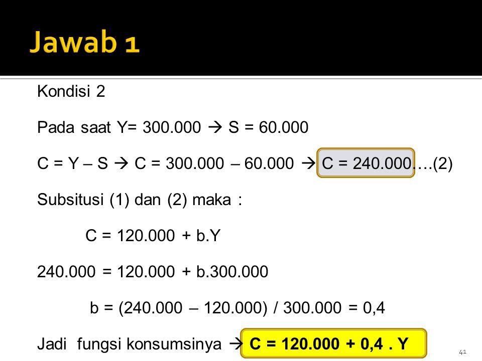 Jawab 1 Kondisi 2 Pada saat Y= 300.000  S = 60.000