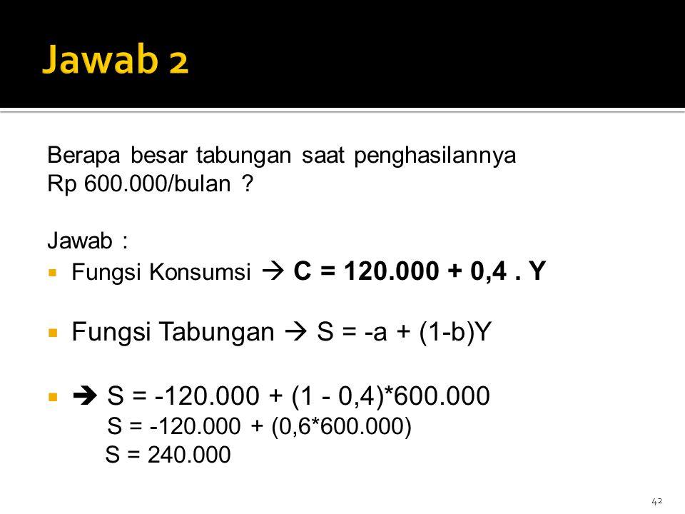 Jawab 2 Fungsi Tabungan  S = -a + (1-b)Y