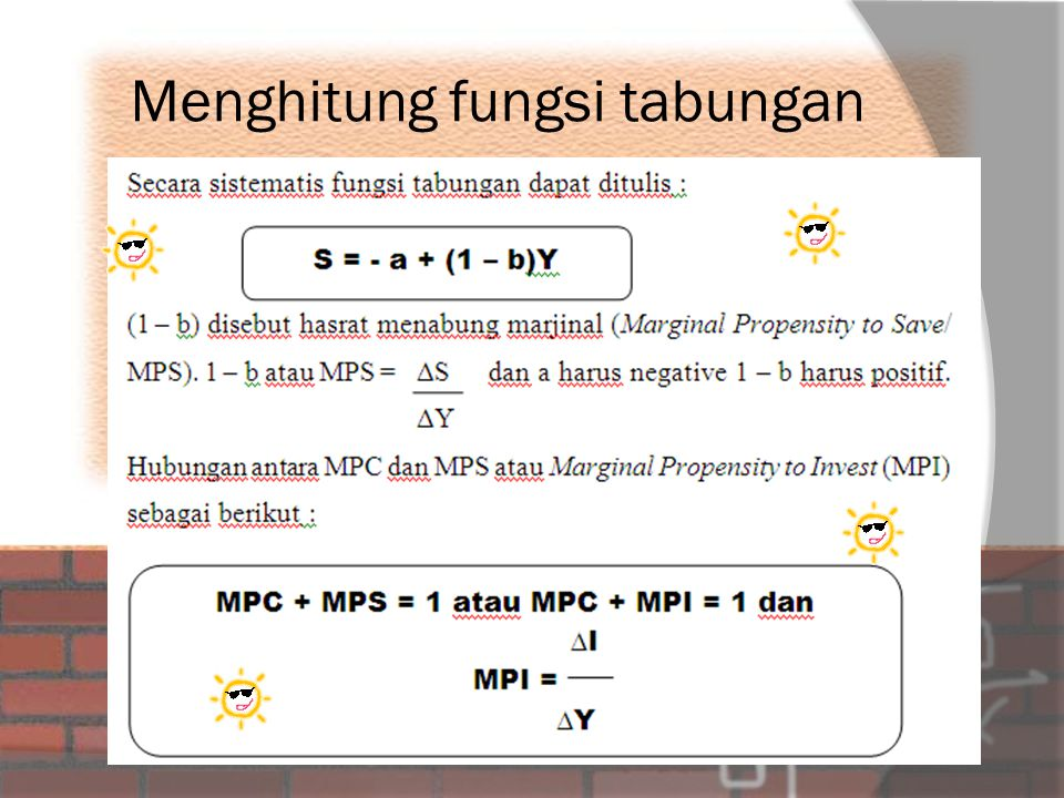 Menghitung fungsi tabungan