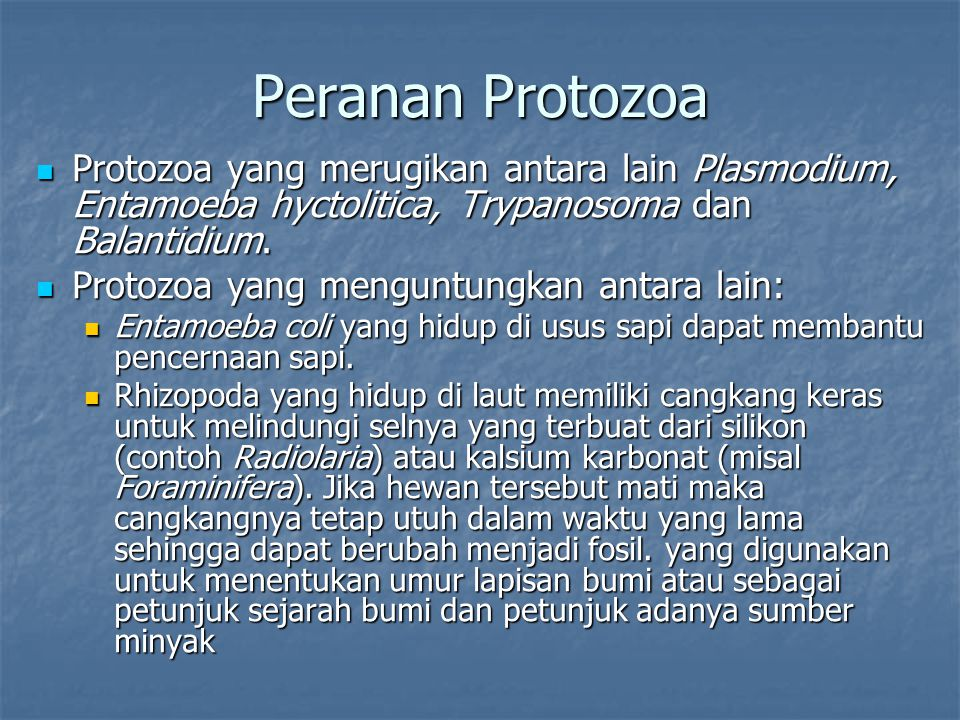 Peranan Protozoa Protozoa yang merugikan antara lain Plasmodium, Entamoeba hyctolitica, Trypanosoma dan Balantidium.