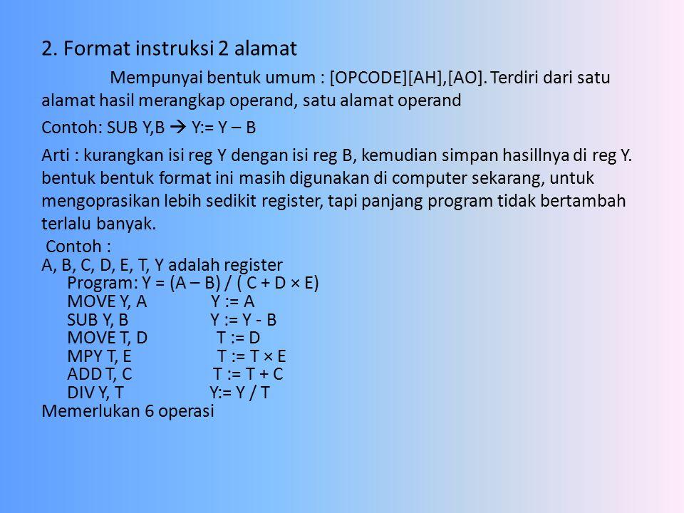 2. Format instruksi 2 alamat