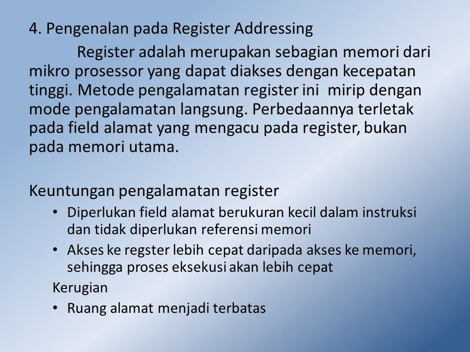 4. Pengenalan pada Register Addressing
