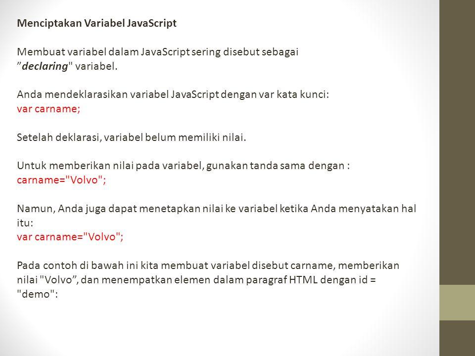 Menciptakan Variabel JavaScript