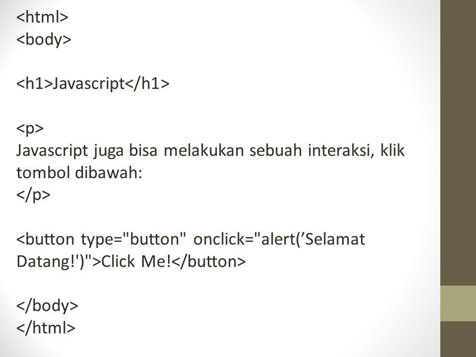 <html> <body> <h1>Javascript</h1> <p> Javascript juga bisa melakukan sebuah interaksi, klik tombol dibawah: