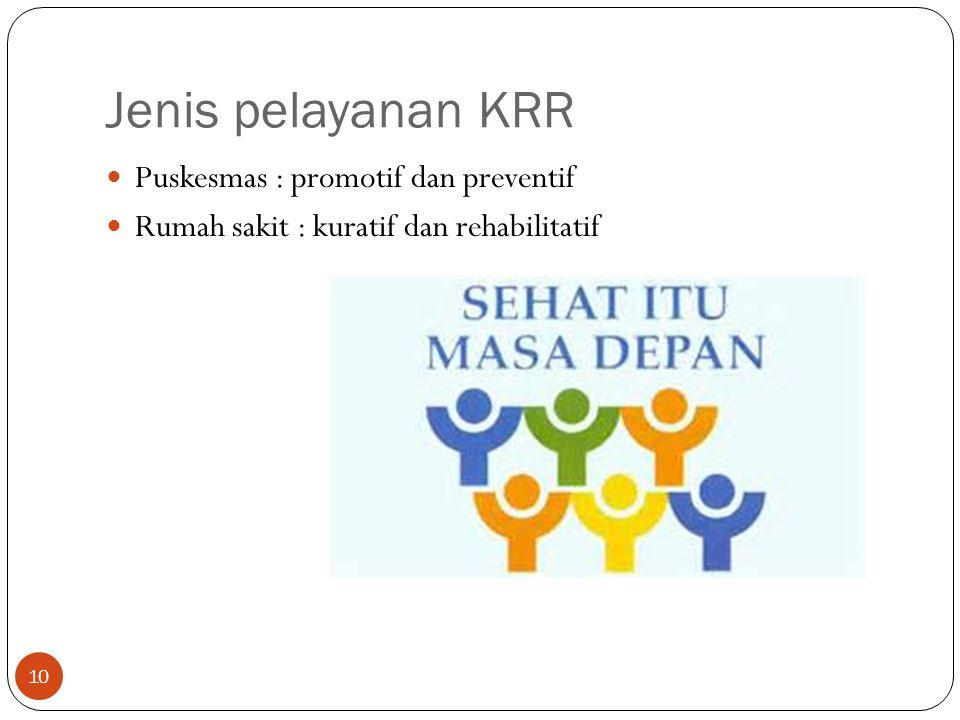 Jenis pelayanan KRR Puskesmas : promotif dan preventif
