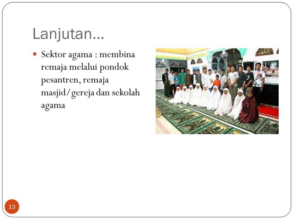 Lanjutan… Sektor agama : membina remaja melalui pondok pesantren, remaja masjid/gereja dan sekolah agama.