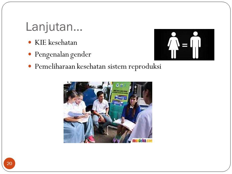 Lanjutan… KIE kesehatan Pengenalan gender