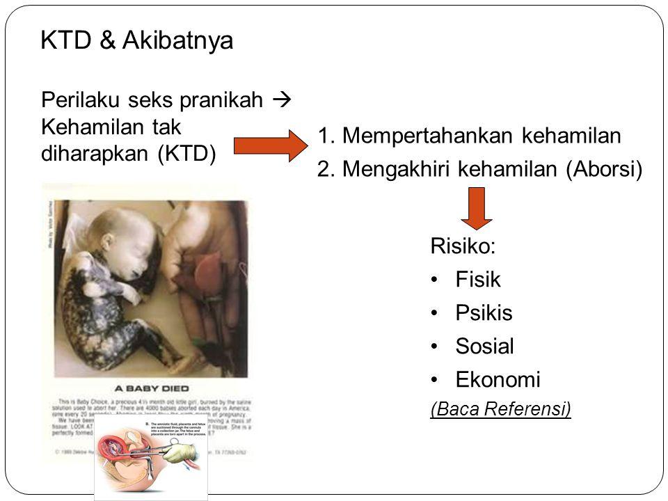 KTD & Akibatnya Perilaku seks pranikah  Kehamilan tak diharapkan (KTD) Mempertahankan kehamilan. Mengakhiri kehamilan (Aborsi)