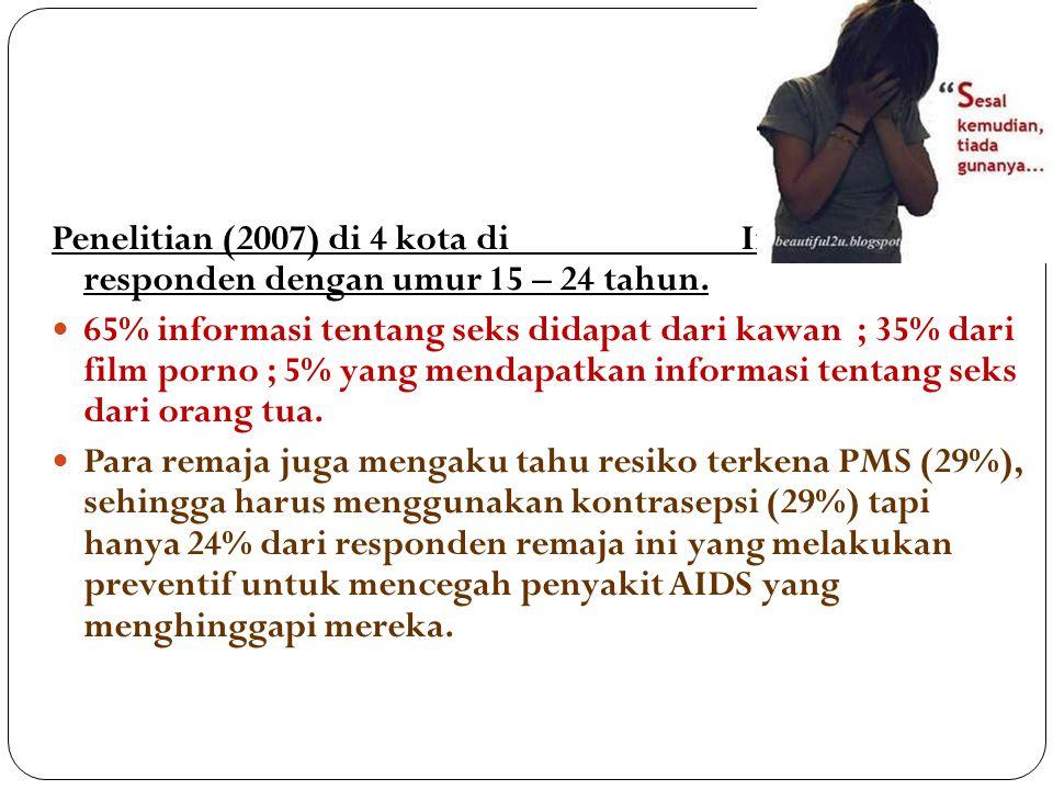 Penelitian (2007) di 4 kota di Indonesia, 450 responden dengan umur 15 – 24 tahun.