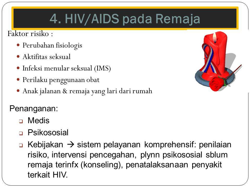 4. HIV/AIDS pada Remaja Faktor risiko : Perubahan fisiologis