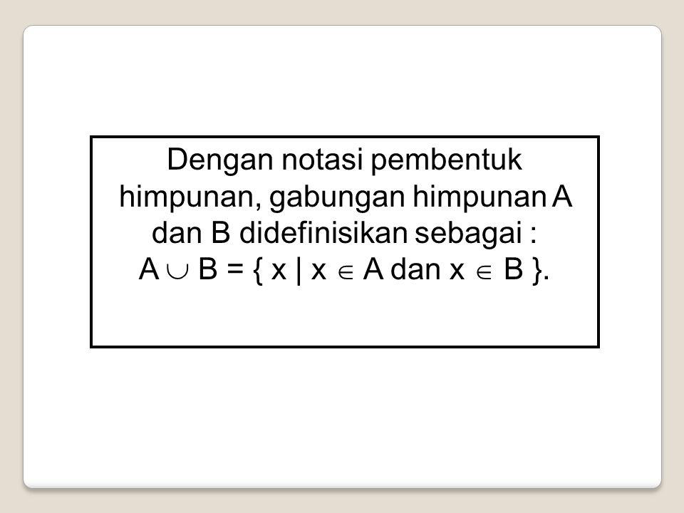 Dengan notasi pembentuk himpunan, gabungan himpunan A dan B didefinisikan sebagai :