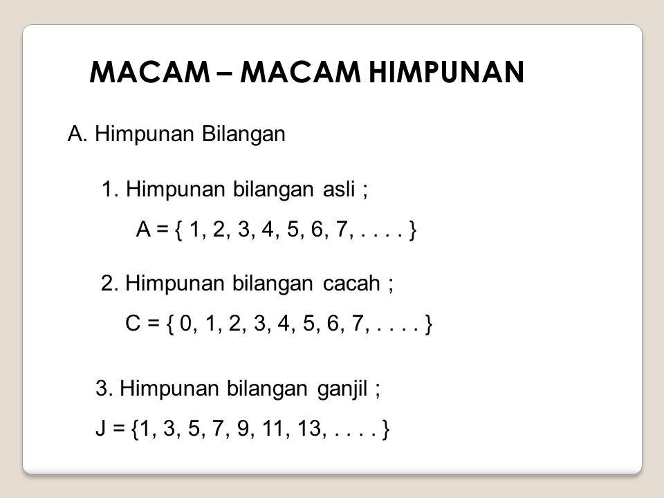 MACAM – MACAM HIMPUNAN A. Himpunan Bilangan Himpunan bilangan asli ;