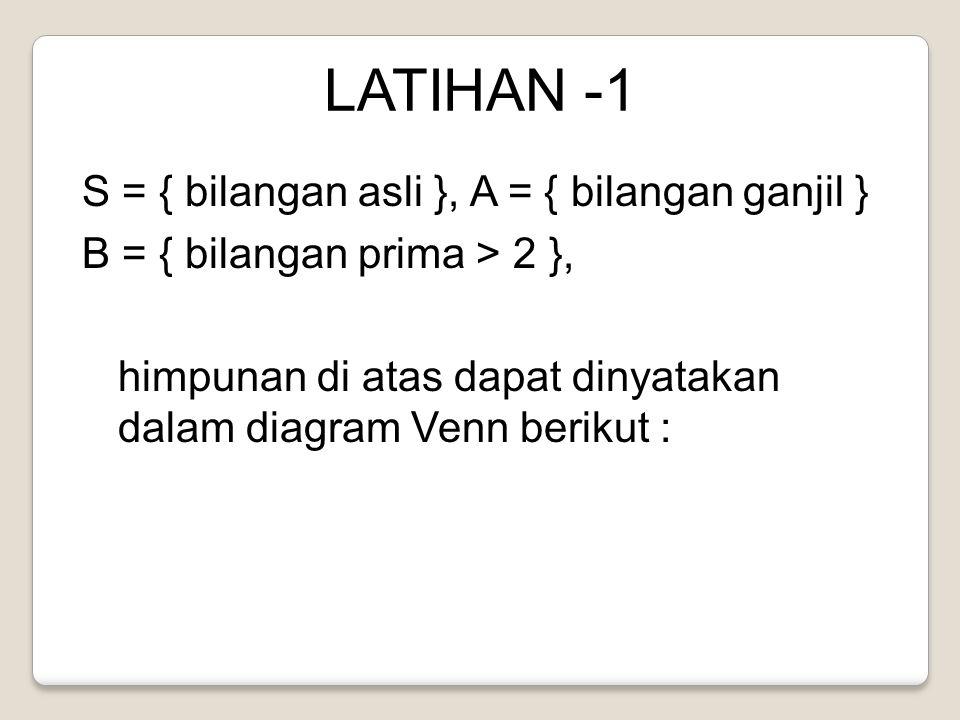LATIHAN -1 S = { bilangan asli }, A = { bilangan ganjil }
