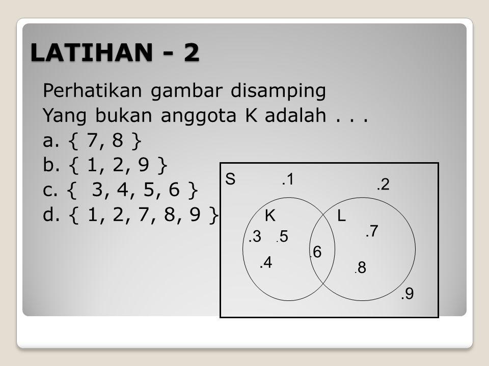 LATIHAN - 2 Perhatikan gambar disamping Yang bukan anggota K adalah . . . a. { 7, 8 } b. { 1, 2, 9 } c. { 3, 4, 5, 6 } d. { 1, 2, 7, 8, 9 }
