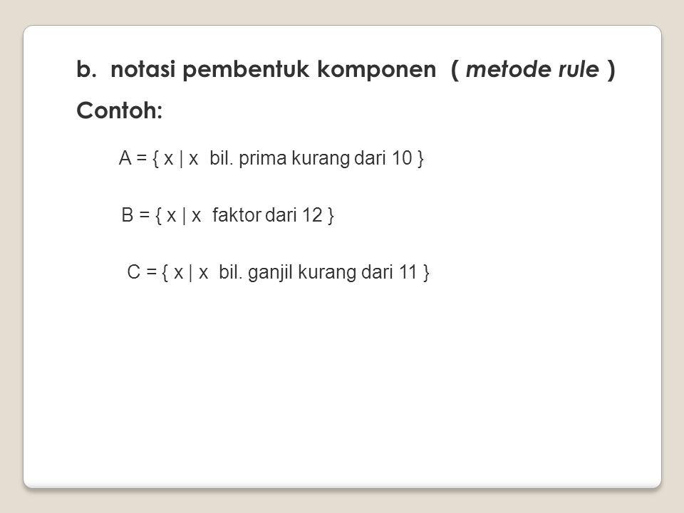 b. notasi pembentuk komponen ( metode rule ) Contoh: