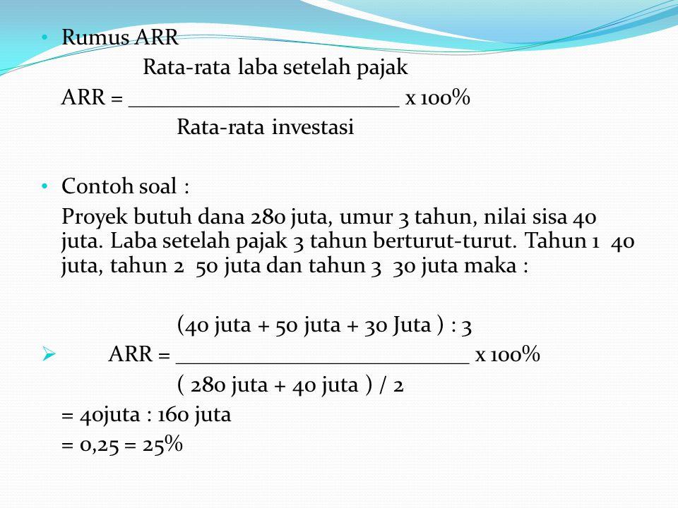 Rumus ARR Rata-rata laba setelah pajak. ARR = ________________________ x 100% Rata-rata investasi.