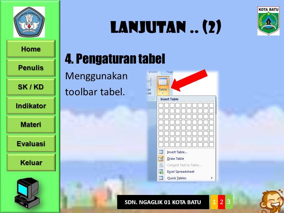 Lanjutan .. (2) 4. Pengaturan tabel Menggunakan toolbar tabel.