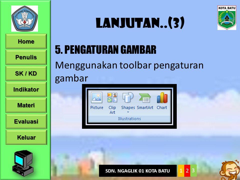 Lanjutan..(3) 5. PENGATURAN GAMBAR Menggunakan toolbar pengaturan gambar