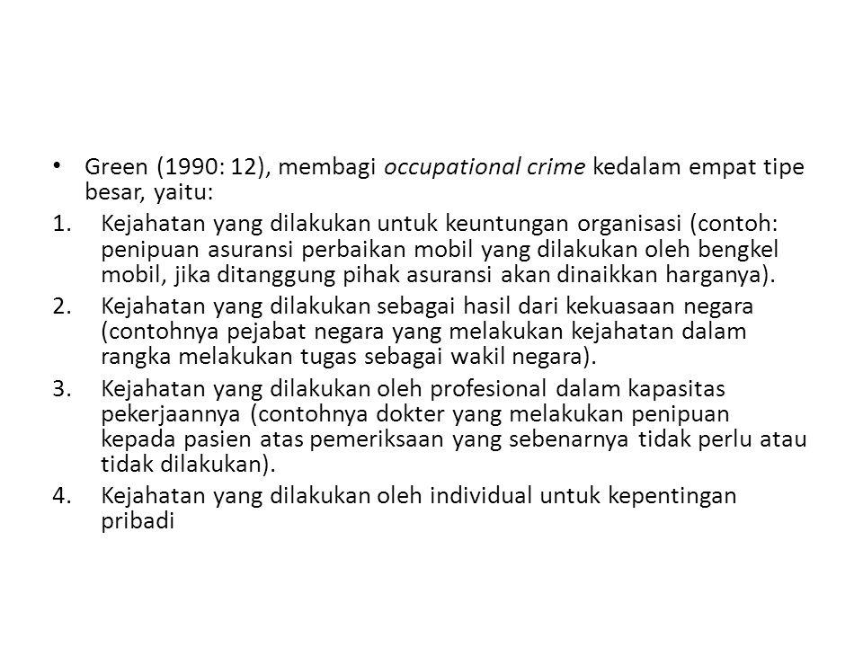 Green (1990: 12), membagi occupational crime kedalam empat tipe besar, yaitu: