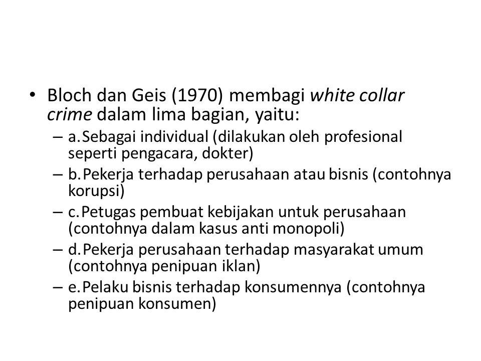 Bloch dan Geis (1970) membagi white collar crime dalam lima bagian, yaitu:
