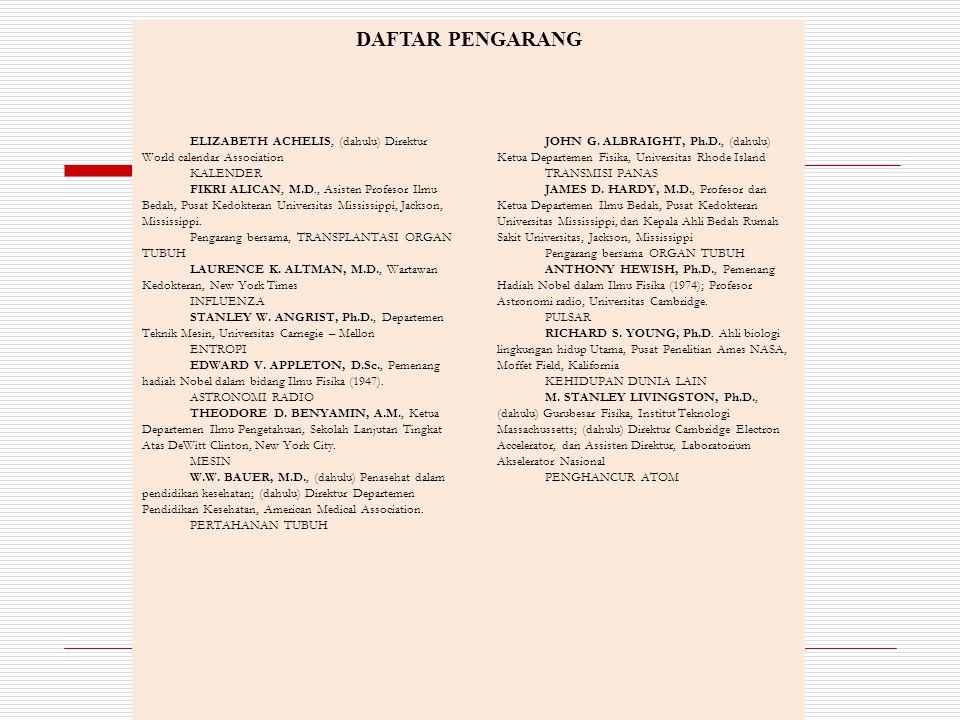 DAFTAR PENGARANG ELIZABETH ACHELIS, (dahulu) Direktur World calendar Association. KALENDER.