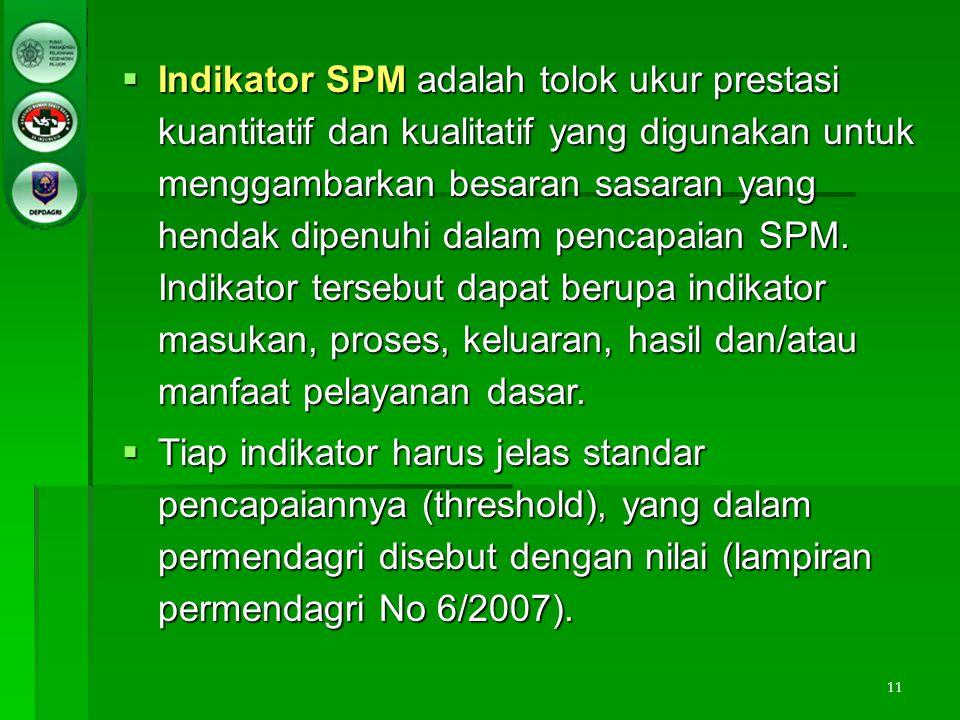 Indikator SPM adalah tolok ukur prestasi kuantitatif dan kualitatif yang digunakan untuk menggambarkan besaran sasaran yang hendak dipenuhi dalam pencapaian SPM. Indikator tersebut dapat berupa indikator masukan, proses, keluaran, hasil dan/atau manfaat pelayanan dasar.