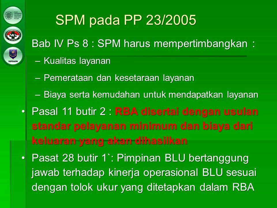 SPM pada PP 23/2005 Bab IV Ps 8 : SPM harus mempertimbangkan :