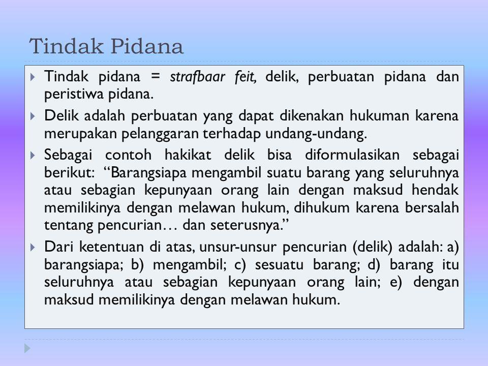 Tindak Pidana Tindak pidana = strafbaar feit, delik, perbuatan pidana dan peristiwa pidana.