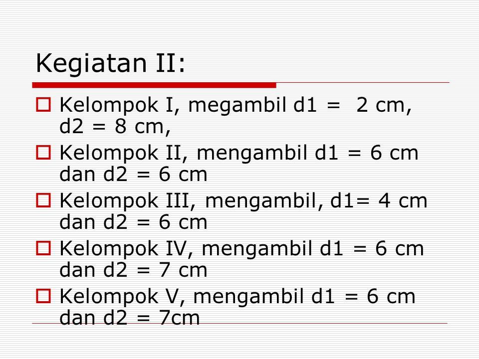 Kegiatan II: Kelompok I, megambil d1 = 2 cm, d2 = 8 cm,