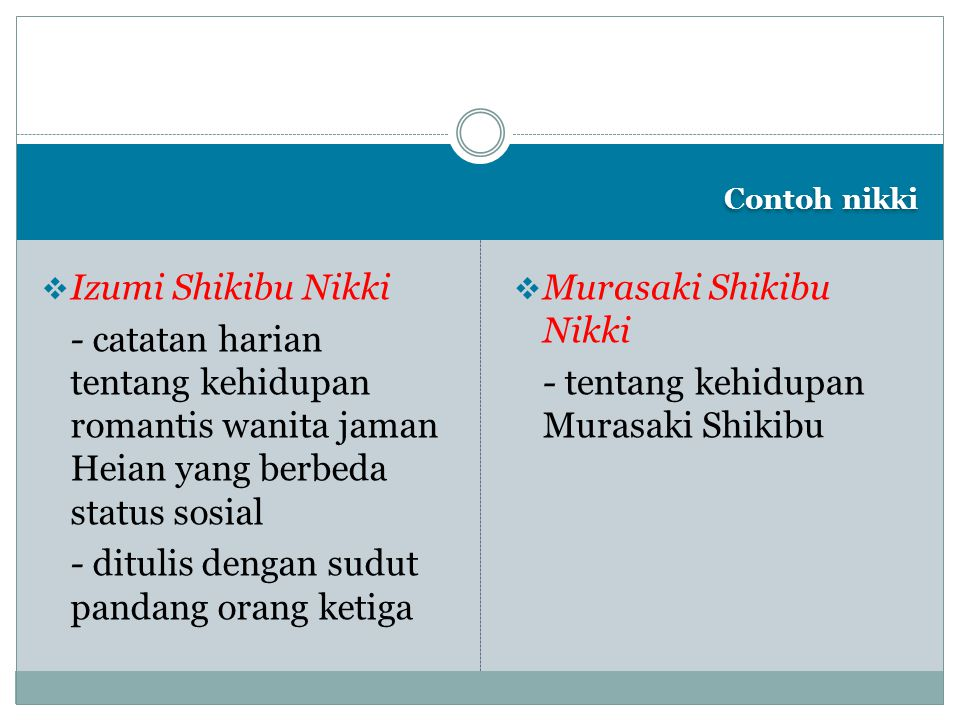 - ditulis dengan sudut pandang orang ketiga Murasaki Shikibu Nikki