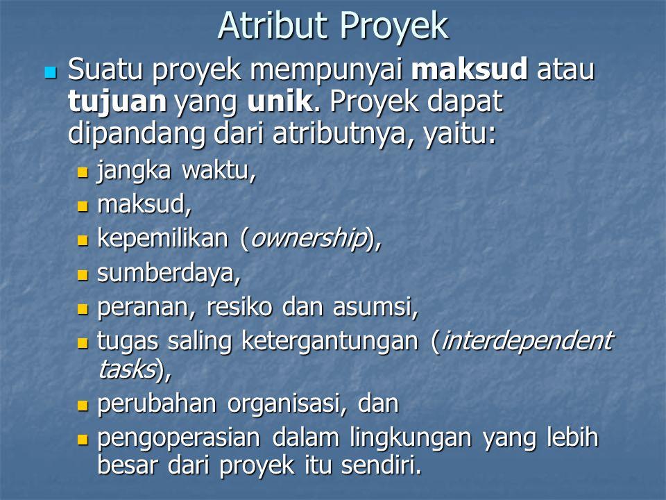 Atribut Proyek Suatu proyek mempunyai maksud atau tujuan yang unik. Proyek dapat dipandang dari atributnya, yaitu: