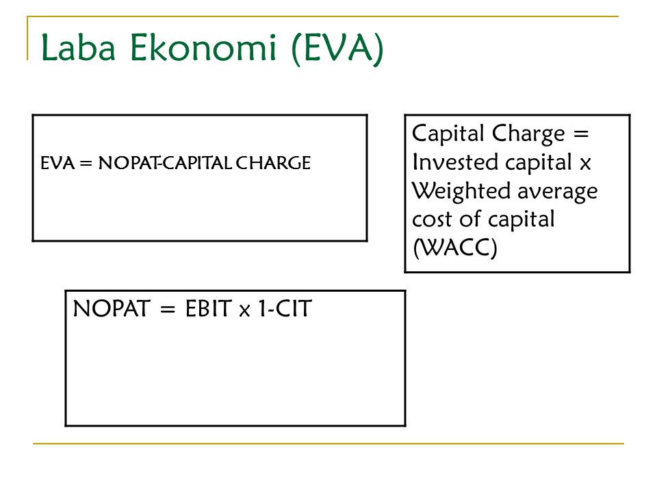 Laba Ekonomi (EVA) EVA = NOPAT-CAPITAL CHARGE. Capital Charge = Invested capital x Weighted average cost of capital (WACC)