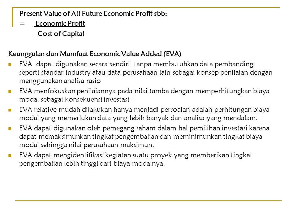Present Value of All Future Economic Profit sbb: