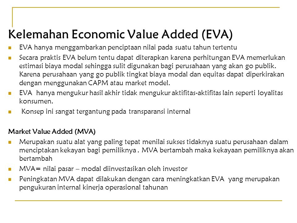 Kelemahan Economic Value Added (EVA)