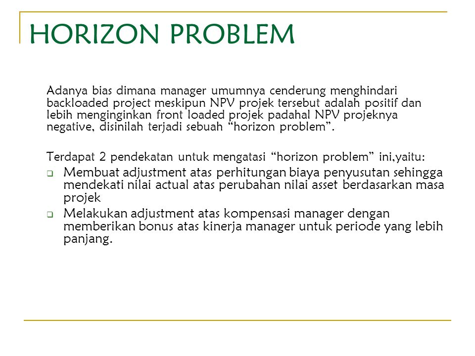 HORIZON PROBLEM