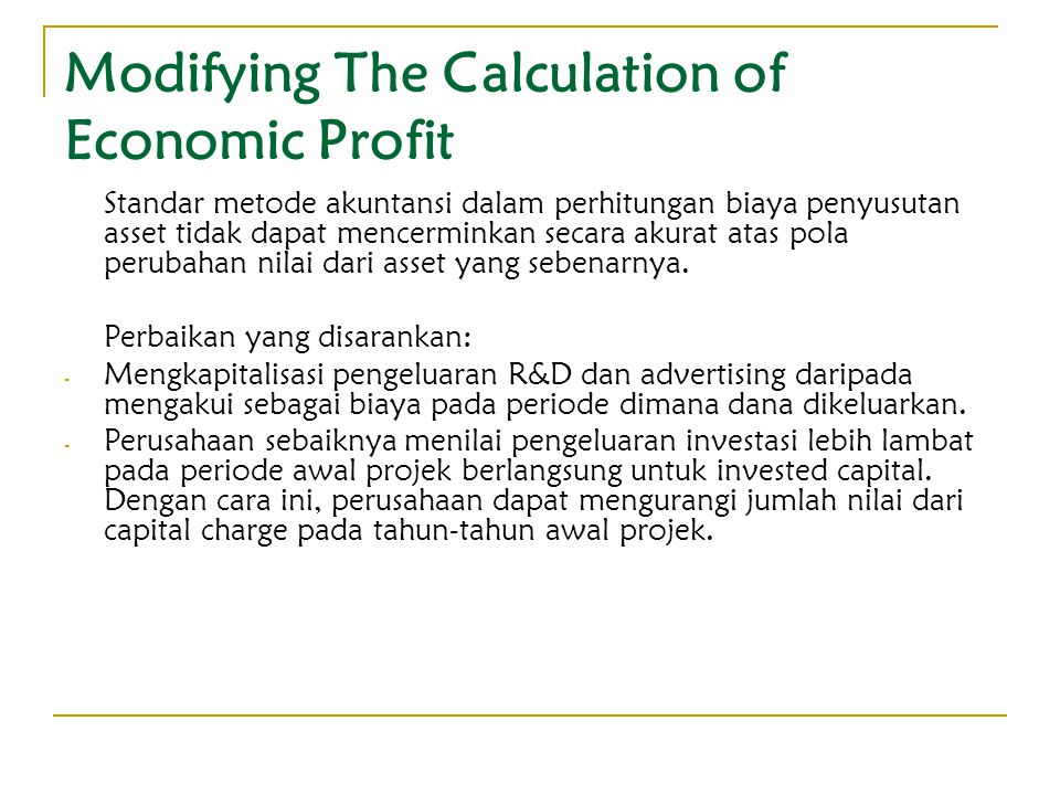 Modifying The Calculation of Economic Profit