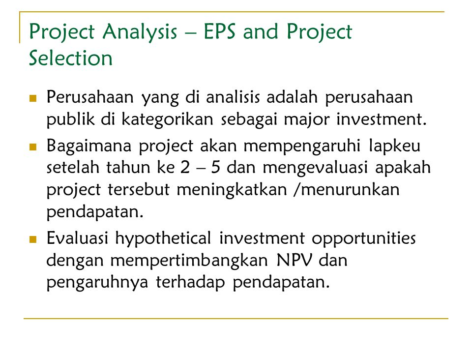 Project Analysis – EPS and Project Selection