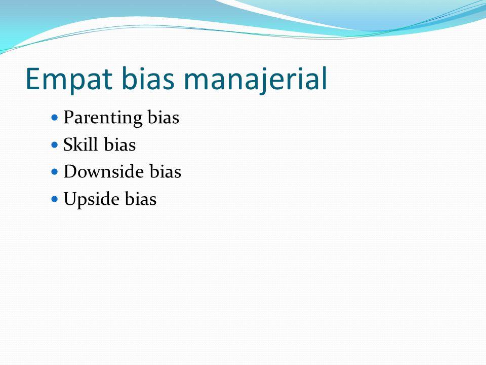 Empat bias manajerial Parenting bias Skill bias Downside bias