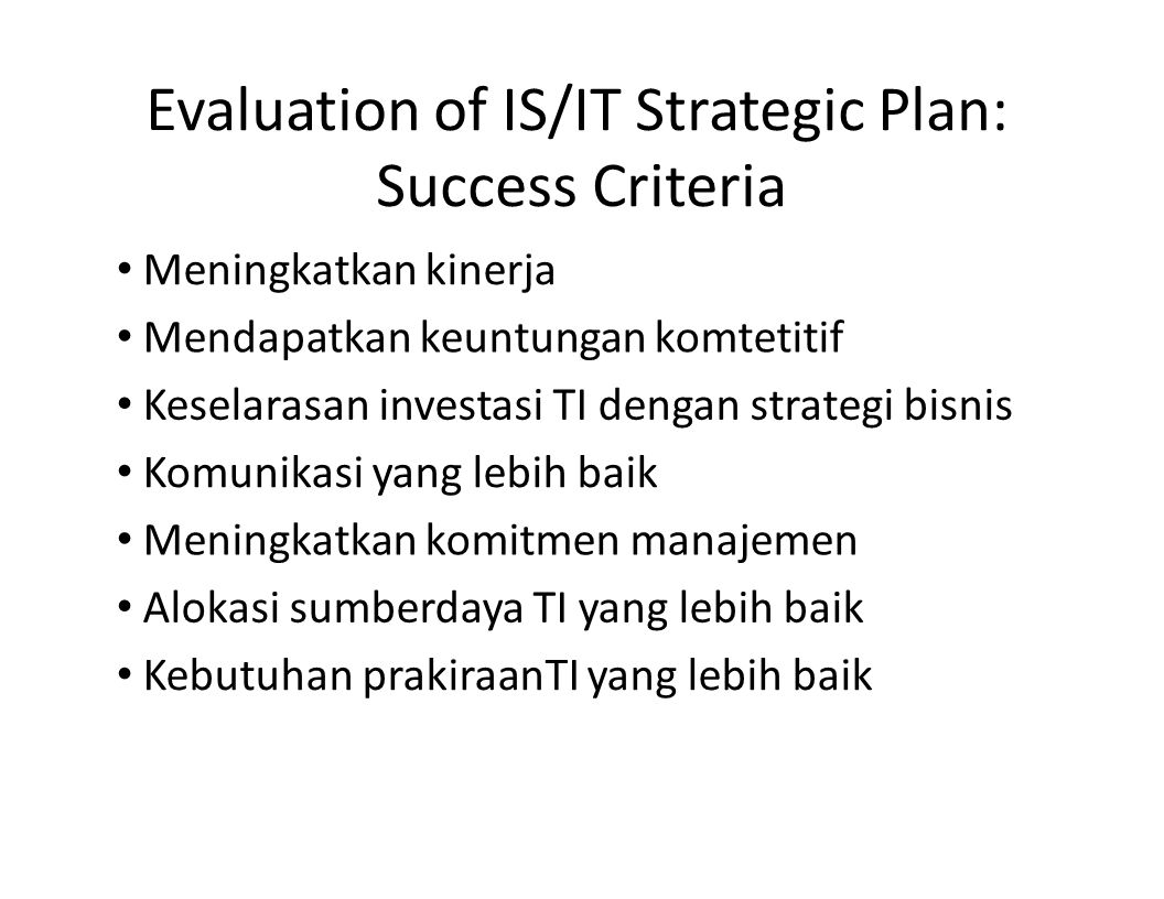 Evaluation of IS/IT Strategic Plan: Success Criteria