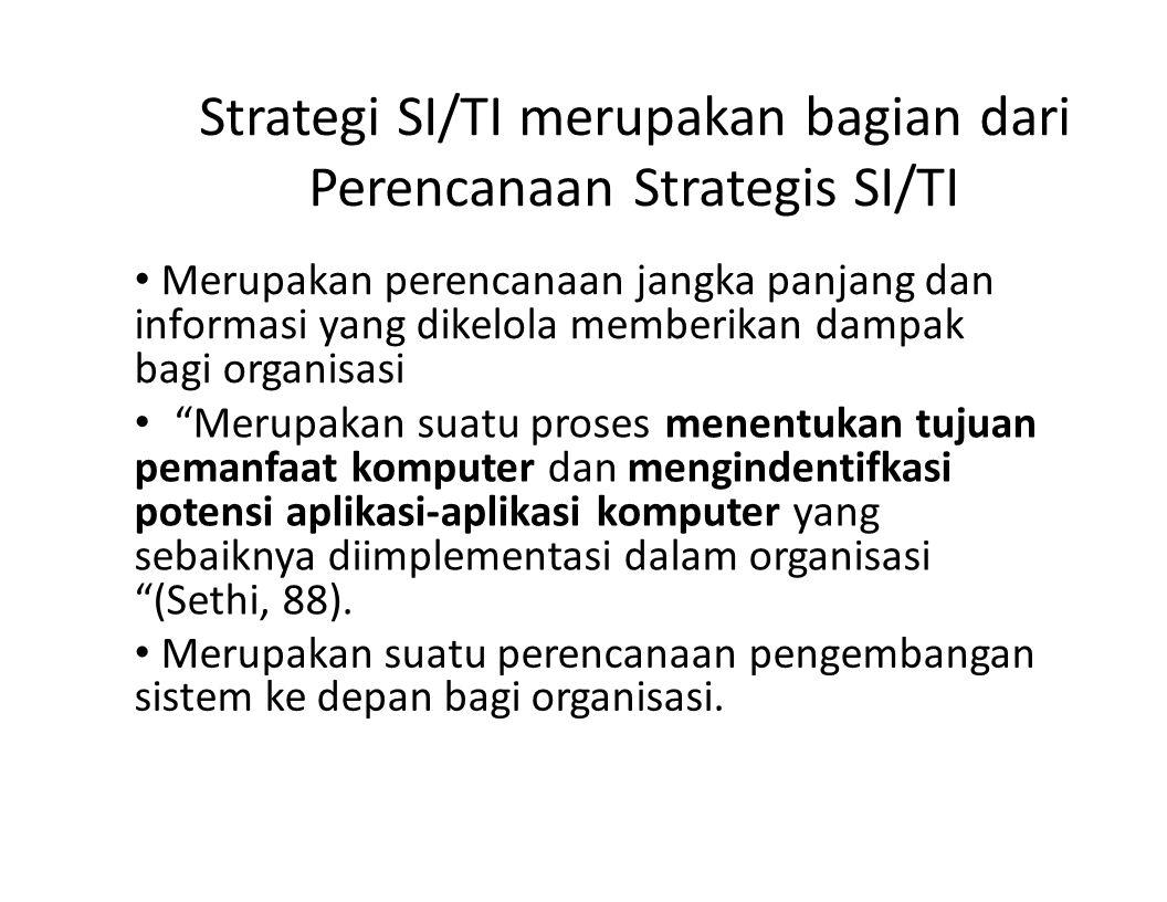 Strategi SI/TI merupakan bagian dari Perencanaan Strategis SI/TI