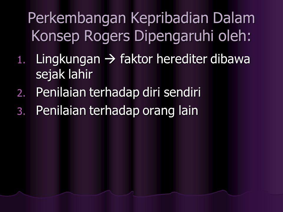 Perkembangan Kepribadian Dalam Konsep Rogers Dipengaruhi oleh: