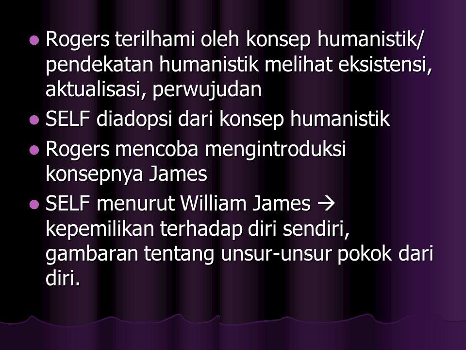 Rogers terilhami oleh konsep humanistik/ pendekatan humanistik melihat eksistensi, aktualisasi, perwujudan