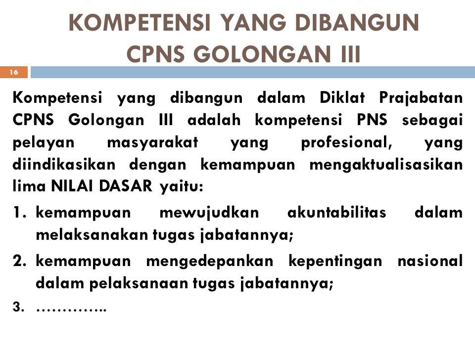 KOMPETENSI YANG DIBANGUN CPNS GOLONGAN III