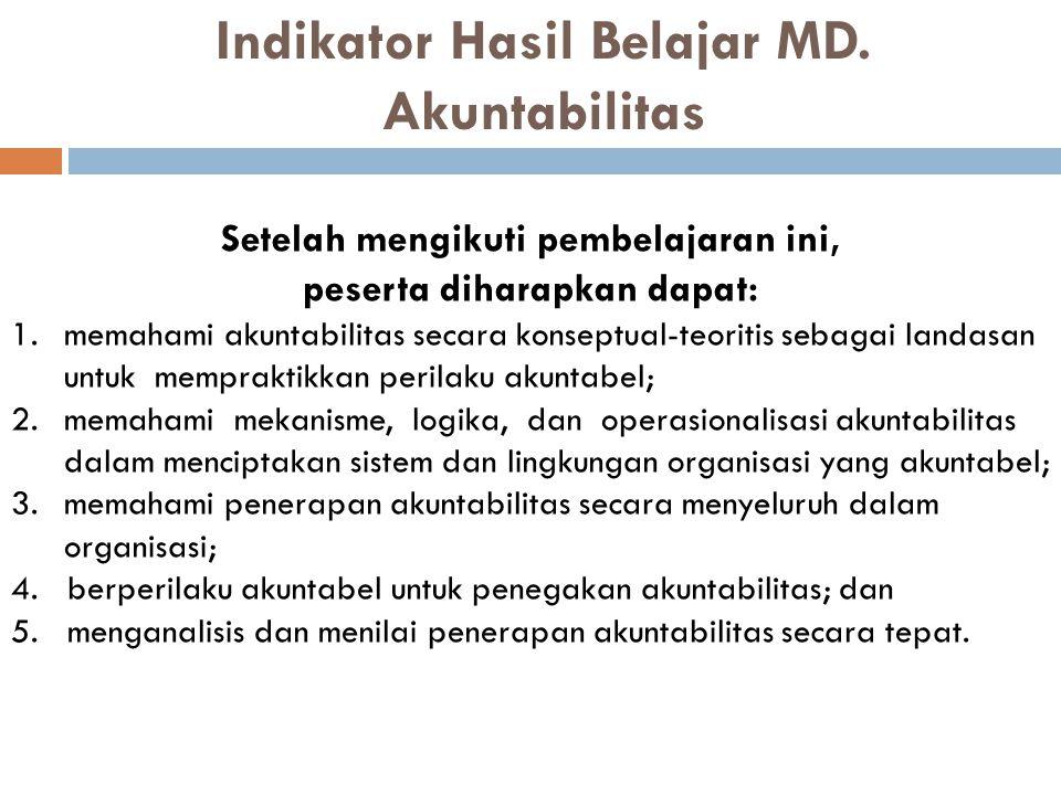 Indikator Hasil Belajar MD. Akuntabilitas
