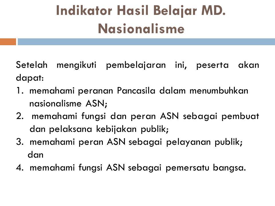 Indikator Hasil Belajar MD. Nasionalisme