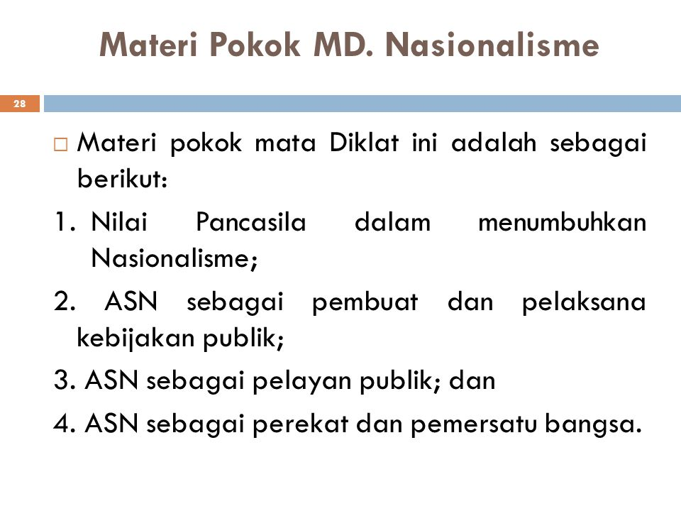 Materi Pokok MD. Nasionalisme