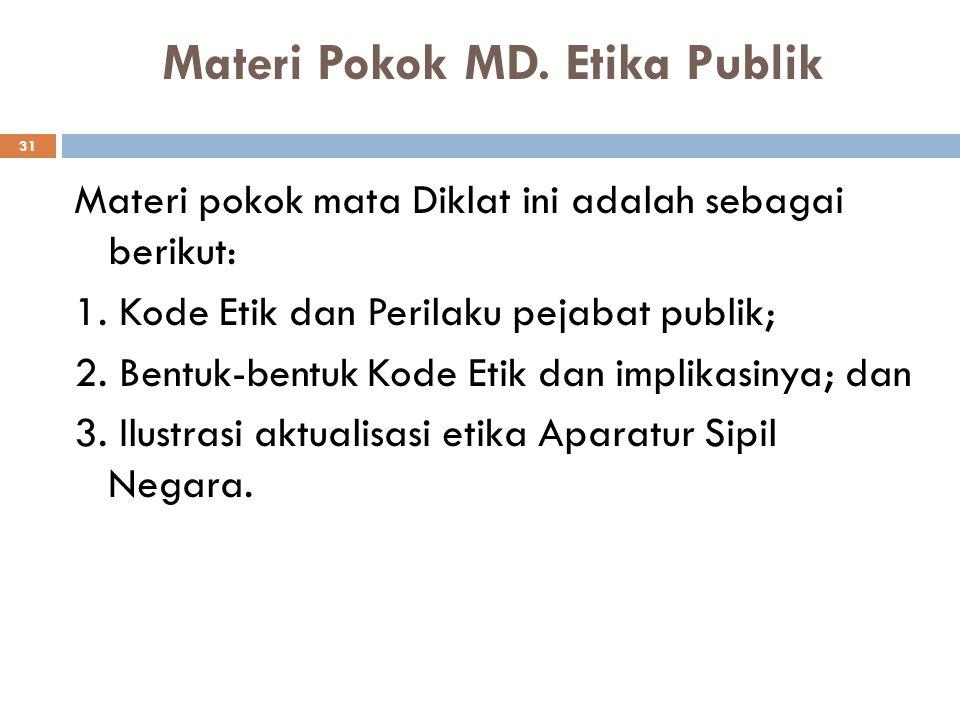 Materi Pokok MD. Etika Publik