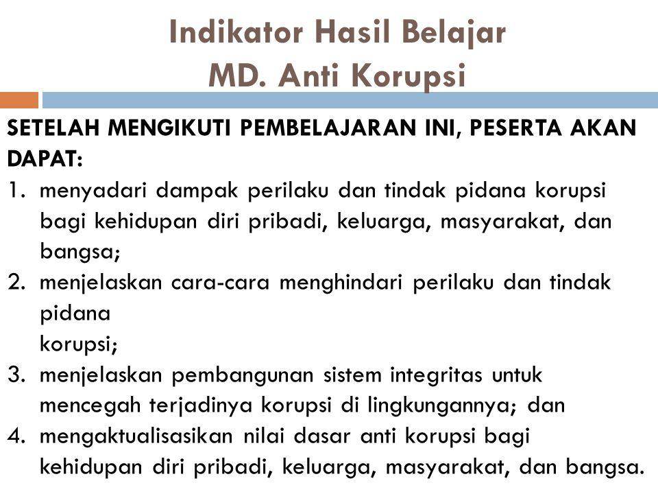 Indikator Hasil Belajar MD. Anti Korupsi