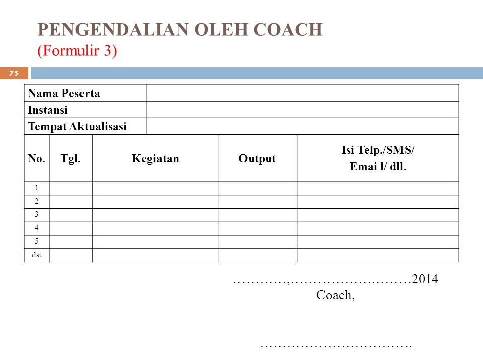 PENGENDALIAN OLEH COACH (Formulir 3)
