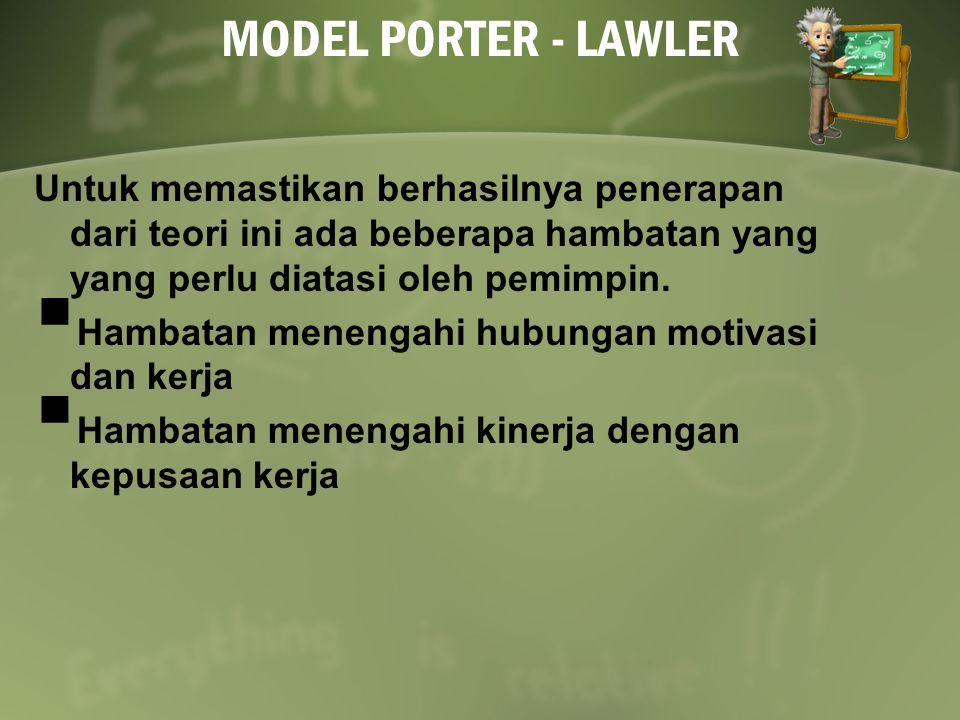 MODEL PORTER - LAWLER Untuk memastikan berhasilnya penerapan dari teori ini ada beberapa hambatan yang yang perlu diatasi oleh pemimpin.